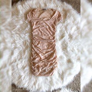 Lace Ruched Peach mini dress